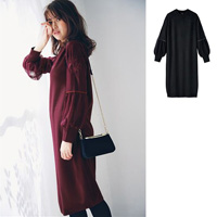 [IMAGE] Laced-Sleeves Knitted Dress / New Arrival Winter 2018, Ladies