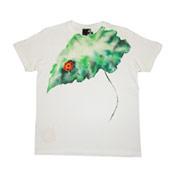 Kyoto Hand-Dyed Yuzen Ladybug & Lotus Leaf T-Shirt, Made in Japan, Cotton