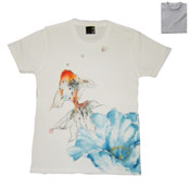 Kyoto Hand-Dyed Yuzen Goldfish T-Shirt, Made in Japan, Cotton