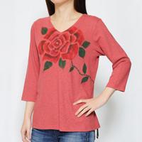 Hand-Painted Yuzen, Red Rose, V-Neck, 3/4-Sleeved (Old Rose)