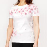 Hand-Painted Yuzen, Kyoto Seiryo-ji Cherry Blossom, Circular Rib T-Shirt (White)