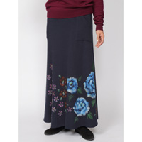 Hand-Painted Yuzen, 4 Season Flowers, Fleece-Lined Long Skirt (Navy) M Size