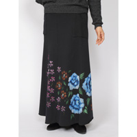 Hand-Painted Yuzen, 4 Season Flowers, Fleece-Lined Long Skirt (Black) M Size
