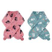 Kurochiku Scarf ●Mamekuro Fleece Series,  Cat & Candy