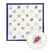 Kurochiku Small Wrapping Cloth tutumu, Checkered Flower, Blue