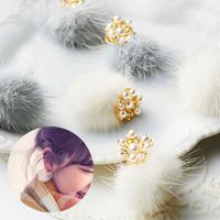 [RyuRyu] Comfy Fitting Earrings w/Mink Fur / Fall & Winter 2018 New Item, Ladies'