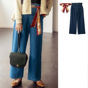 [GeeRA] Straight Denim Pants with Scarf Belt / New Arrival Spring 2020, Ladies