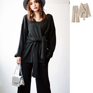 [GeeRA] Front Knot Top & Wide Pants Knit Set / New Arrival Spring 2020, Ladies