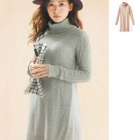 [RyuRyu] Contrasting Material Cable Knit Dress  /SALE