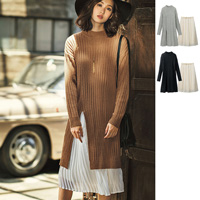 [RyuRyu] Slit Knit Dress & Pleated Skirt Set  /SALE