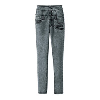 [RyuRyu] Front-Button High-Waist Skinny Jeans w/Synthetic Leather  /SALE