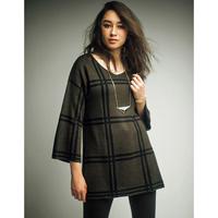[RyuRyu] Check Jacquard Knit Tunic  /SALE