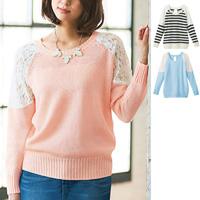 [RyuRyu] Lacy Shoulder Knit  /SALE
