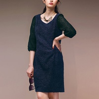 [RyuRyu] Fleece Lace Sleeve & Back Bow Dress (M) /SALE