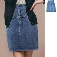 [RyuRyu] Cut Denim Tight-Skirt  /SALE