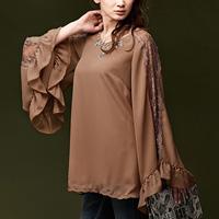[RyuRyu] Butterfly Sleeve Lace Paneled Tunic (M) /SALE