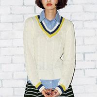 [RyuRyu] Shirt Layered-Style Tennis Knit Top  /SALE