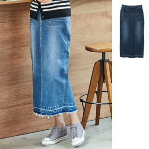 [Ranan] Hem Cut-off Stretch Denim Tight Skirt / New Arrival Spring 2020, Ladies