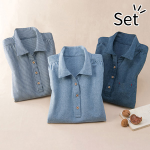 [Belluna] [3 Units] Comfy Denim Shirt / 2020 Spring Lineup, Inner