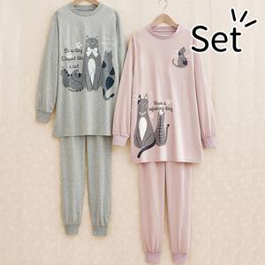 [Belluna] Mrs. Cat Pattern Tunic Room Wear (2 pack) / New Arrival Spring 2020, Inner