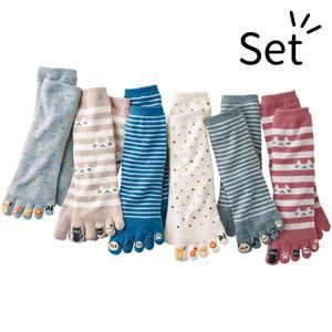 [Belluna] Cute Animal 5-Toe Socks (6 pairs) / New Arrival Spring 2020, Inner