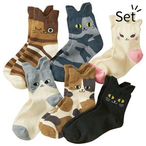 [Belluna] Nyanto Cute Cat Chan Socks 6 Pairs / 2020 Spring Lineup, Inner