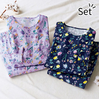 [Belluna] 100% Cotton Travel Pajamas w/Bra Cups, 2-Pack / 2018 Fall & Winter Lineup, Interior