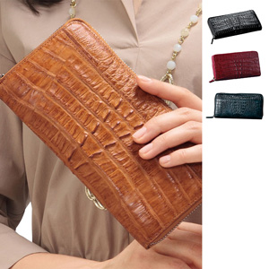 NEW Luxury Caiman Skin Round Edges Long Wallet