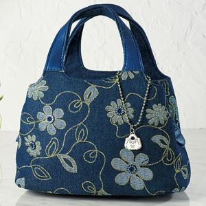SAVOY Floral Denim Jacquard Handbag