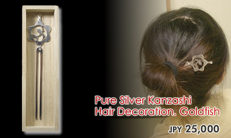 Pure Silver Kanzashi Hair Decoration. Goldfish