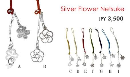 Silver Flower Netsuke